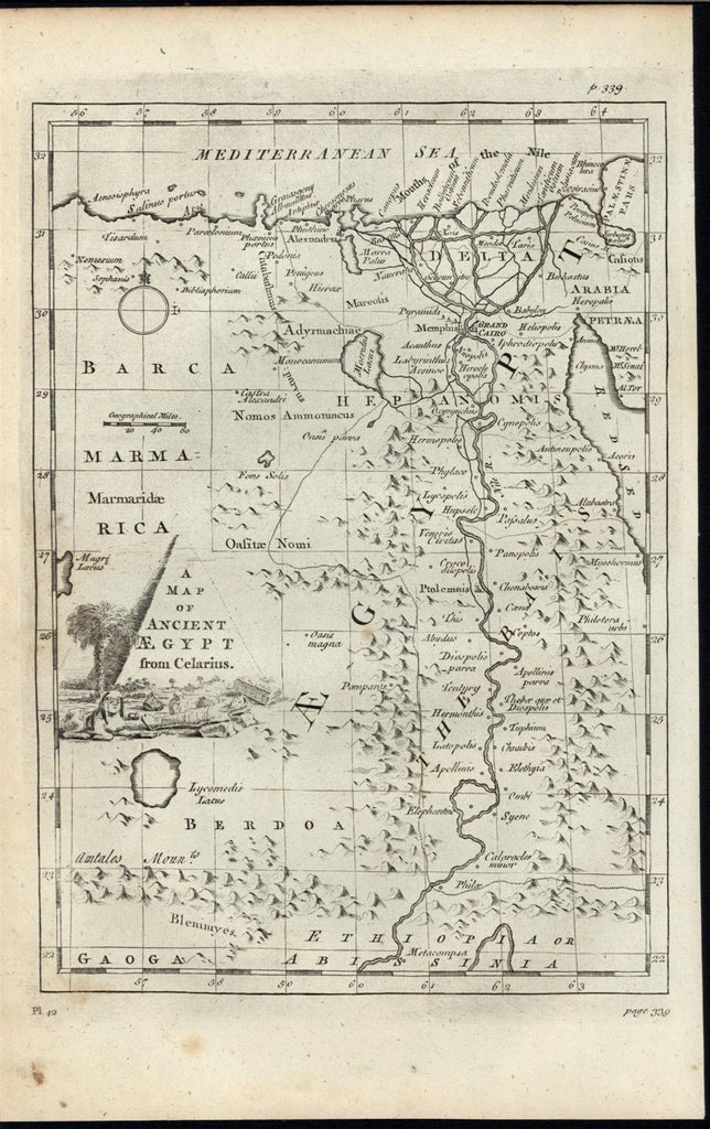 Ancient Egypt Nile Delta endless mountains 1787 old vintage antique map