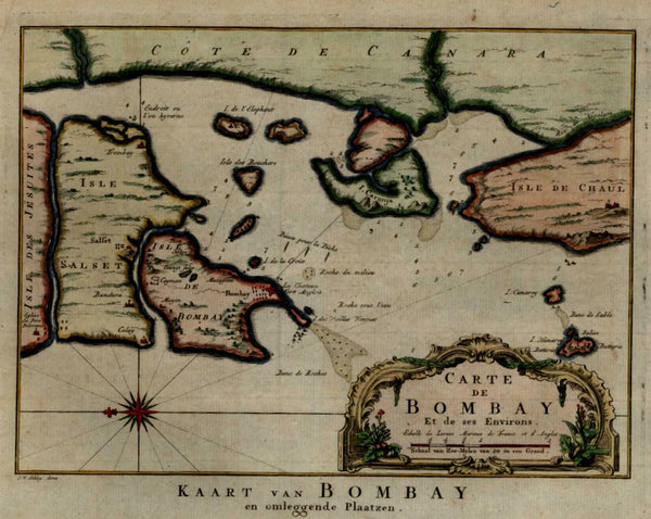 Bombay Coastal Survey India Colonialism 1750 harbor environs decorative map