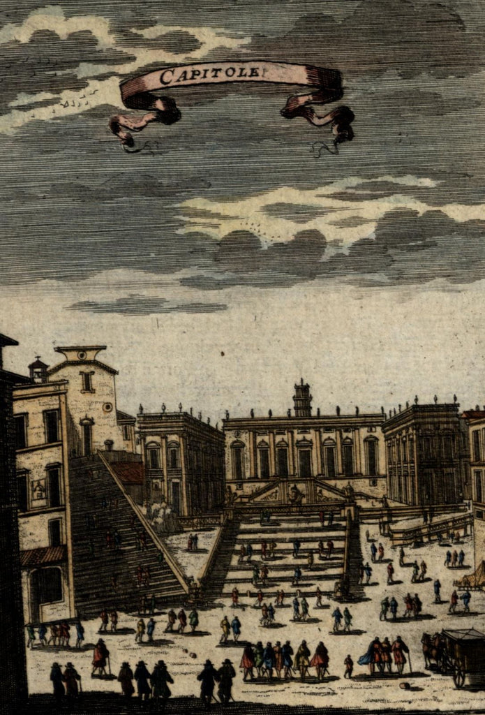 Rome Italy Capitoline Hill 1683 Mallet antique engraved hand color print