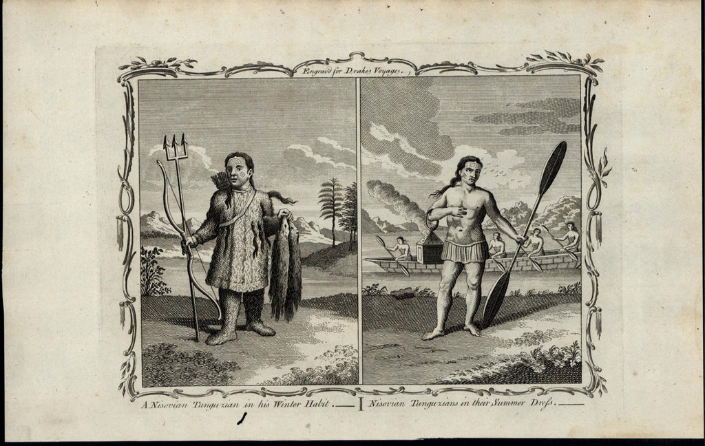 Nisovian Tungurian Winter & Summer Dress c 1780's fascinating old engraved print
