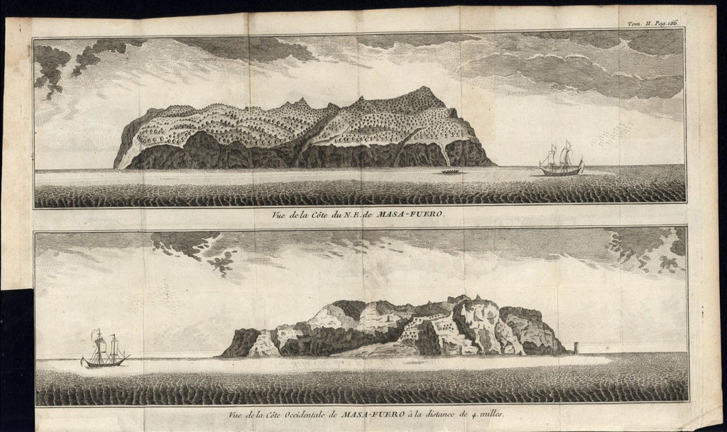 North Coast Masa Fuero South America Juan Fernandez c.1750 antique engraved map