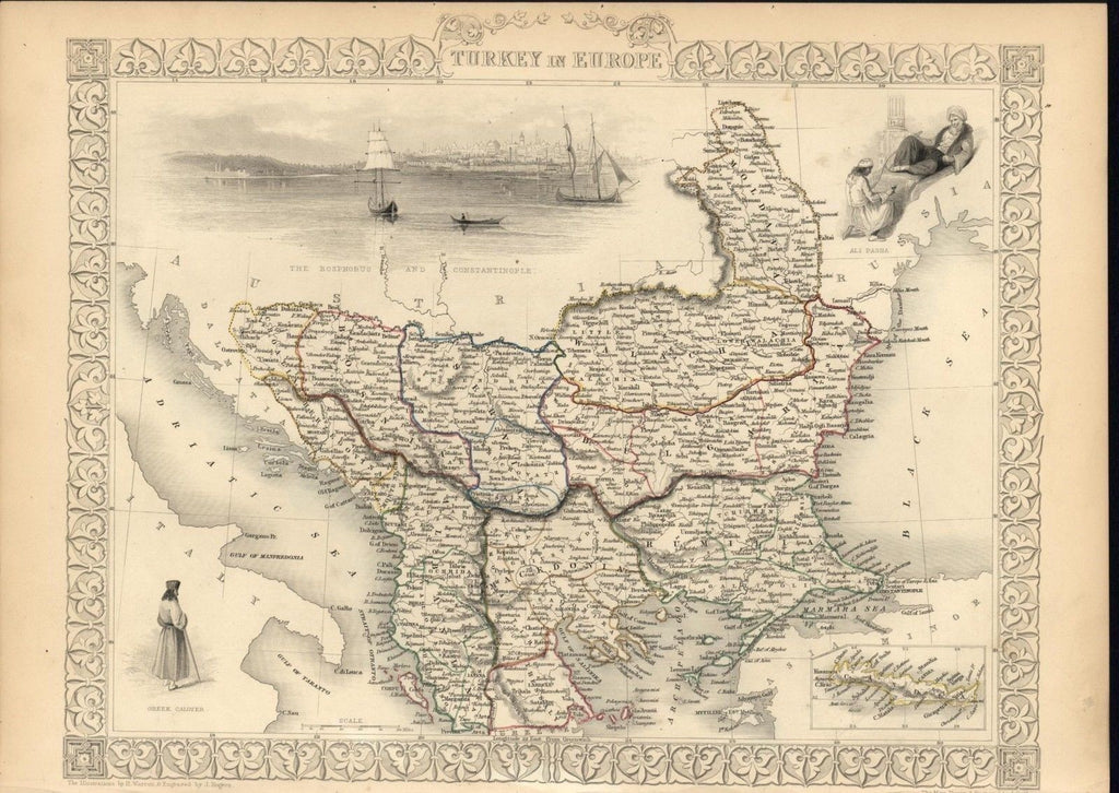 Balkans Macedonia Bulgaria Bosnia Moldova 1851 antique decorative Tallis map