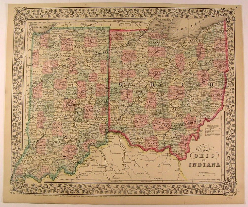 Ohio Indiana states 1870 Mitchell antique hand color map W.H. Gamble engraved