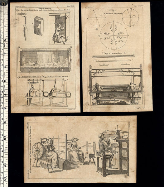 Weaving Looms cloth manufacturing 1754 Thomas Jefferys old engraved print lot x3