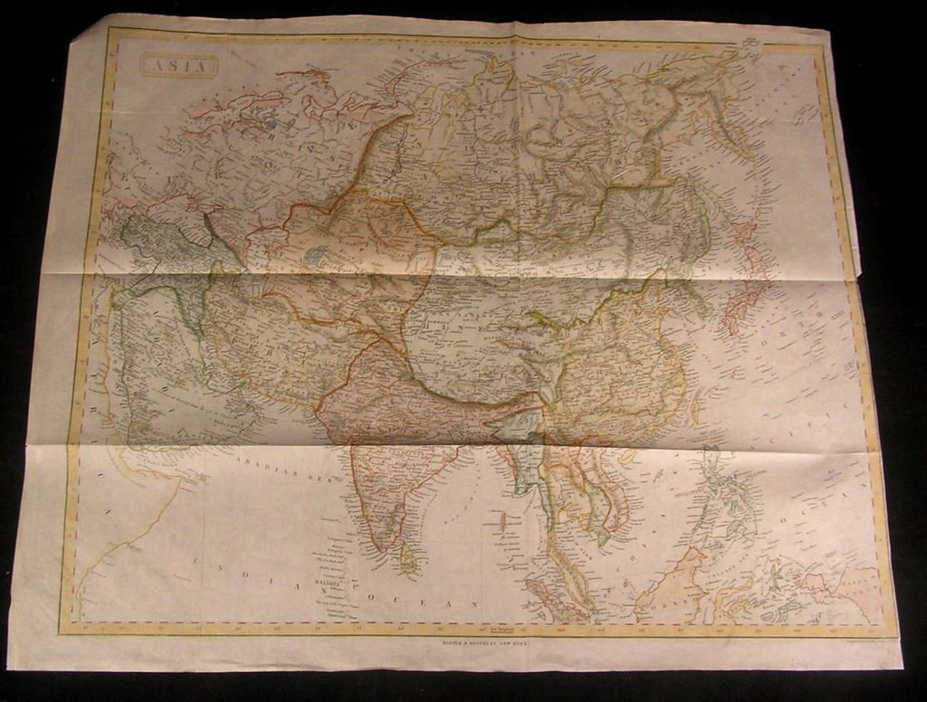Asia 1845 Charles Copley rare large bond paper antique engraved hand color map