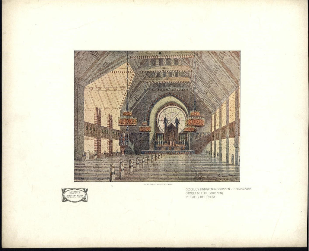 Art Nouveau Saarinen church interior 1907 lovely rare Architecture color print