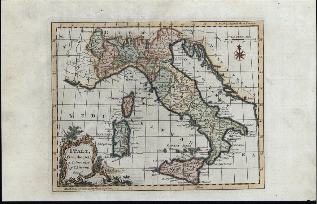 Italy Sicily Sardinia Corsica Naples Rome 1779 fine old Bowen antique map