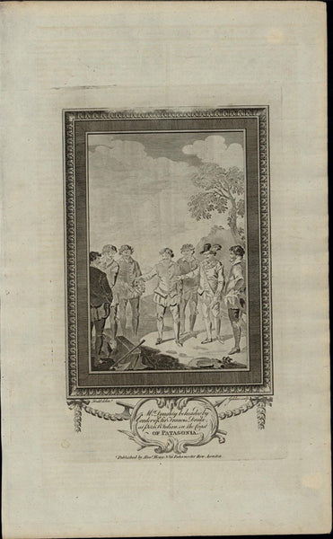 Mr. Doughty Beheaded Patagonia Execution c 1780's fascinating old engraved print