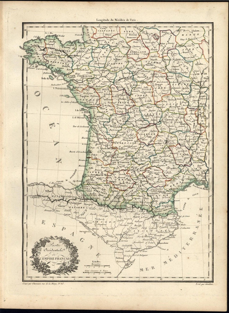 South West France 1810 Malte Brun Chamouin fine old vintage antique map
