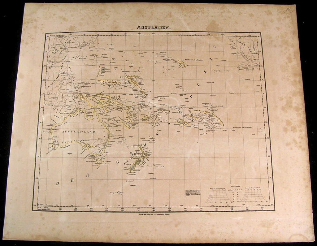 Australia New Zealand Pacific Islands New Guinea 1849 Flemming old antique map