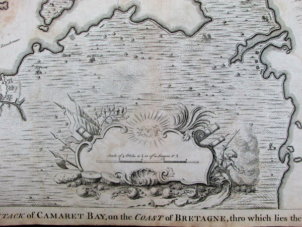 Battle of Camaret Brittany France Brest British French battle c.1740 Tindal map