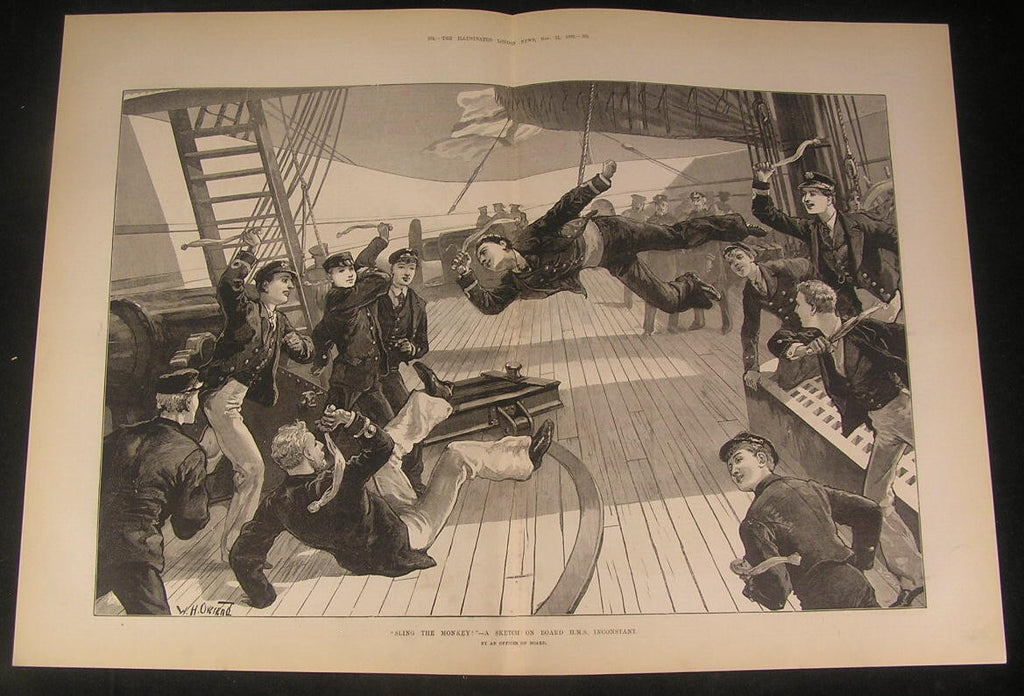 Sailors Playing Sling the Monkey Merry Jovial 1882 antique wood engraved print