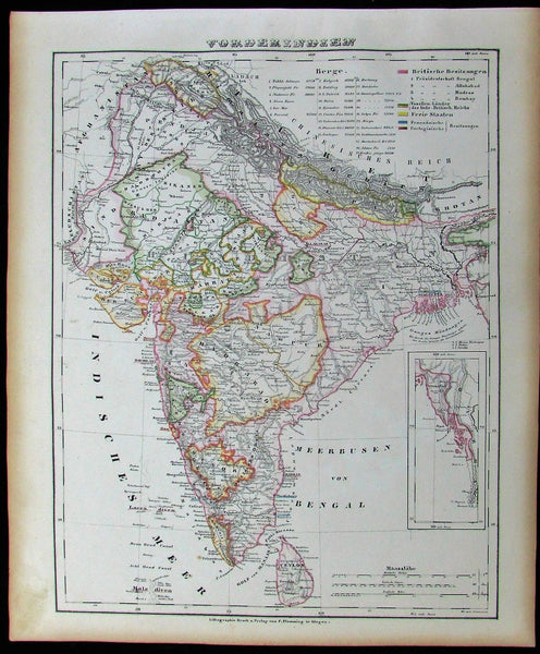 Persia Afghanistan Russia Central Asia 1852 Flemming old antique color map