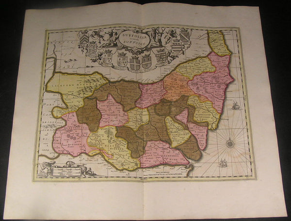 Suffolk East England Ipswich Yarmouth ca. 1700 Schenk fine antique old color map
