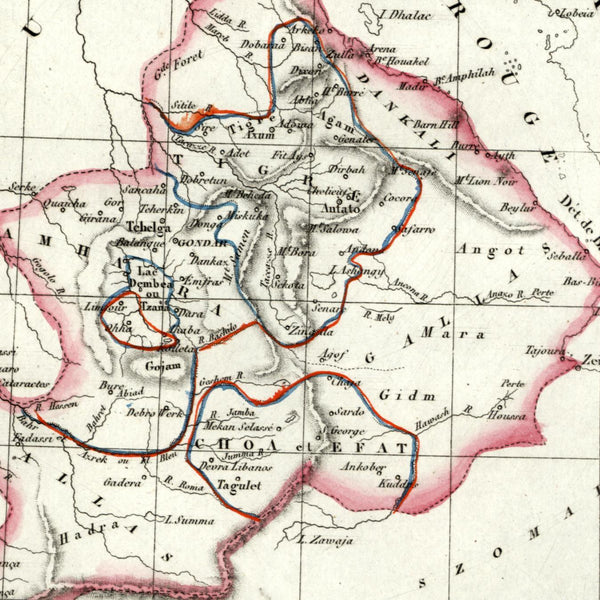 Africa Abyssinia old map 1834 Tardieu scarce Perrot miniature