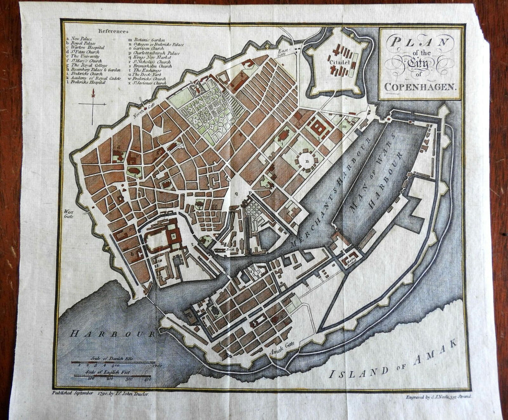 Copenhagen Denmark city plan 1790 Neele detailed key Fortifications Palace