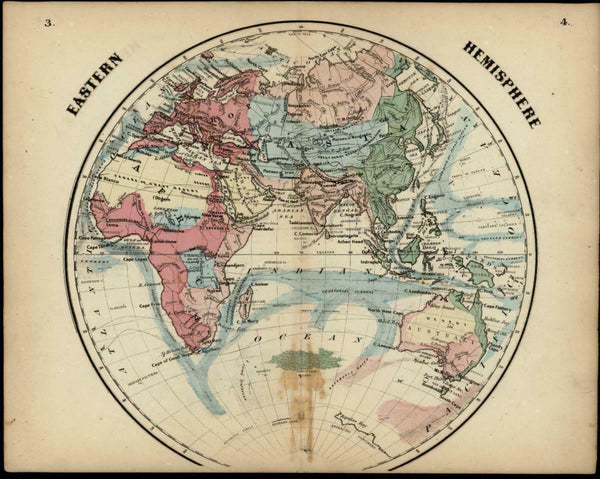 Eastern Hemisphere Mts. of Moon Africa Lake Torrens 1865 Colton miniature map