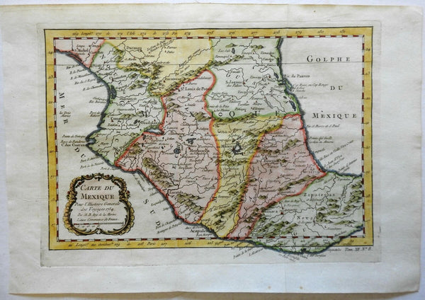 Mexico New Spain Mexico City 1754 Bellin engraved map