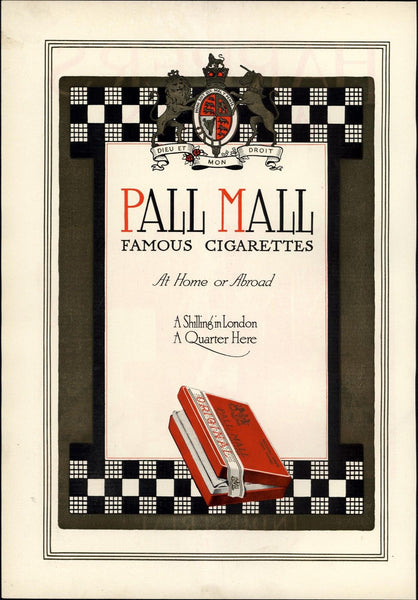 Famous cigarettes Pall Mall box London 1912 vintage Harper's color print