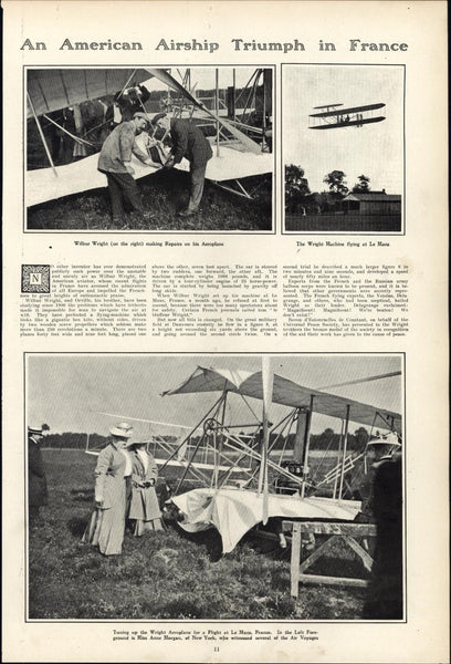 Wilbur Wright plane American Airship France 1908 vintage newsprint sheet paper