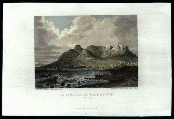 Cape Town South Africa harbor 1840 lovely city view hand colored print