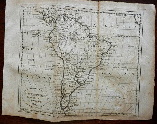 South America Continent 1799 Scoles engraved Low early American miniature map
