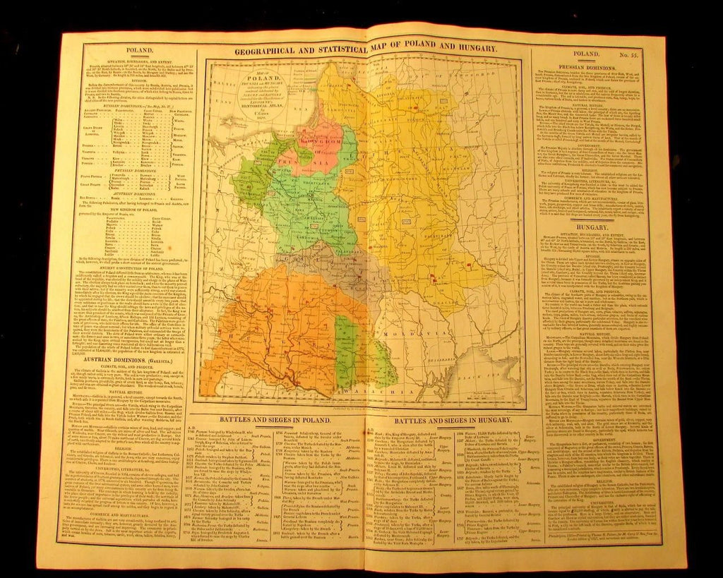 Poland historical Prussia Hungary 1820 M. Carey large antique map