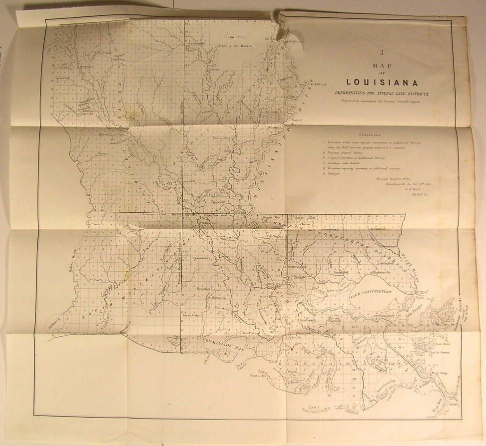 Louisiana Land Districts Lake Pontchartrain 1849 U.S.G. old state survey map
