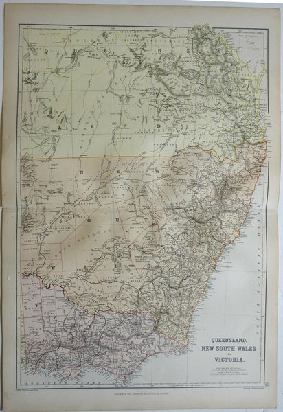 Eastern Australia Queensland New South Wales Victoria 1882 Blackie map