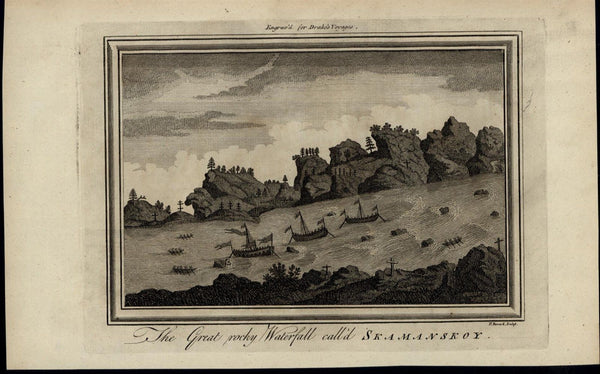 Skamanskoy Great Rocky Waterfall Ships ca. 1780's fascinating old engraved print