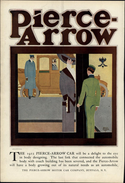 Pierce Arrow Automobile ad Louis Fancher 1912 vintage Harper's color print
