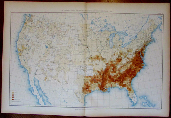 "Distribution ""Colored"" African-American Population 1898 large detailed U.S. map"