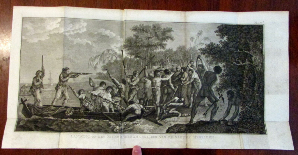 Captain Cook So. Pacific New Hebrides island landing scene 1800 engraved print