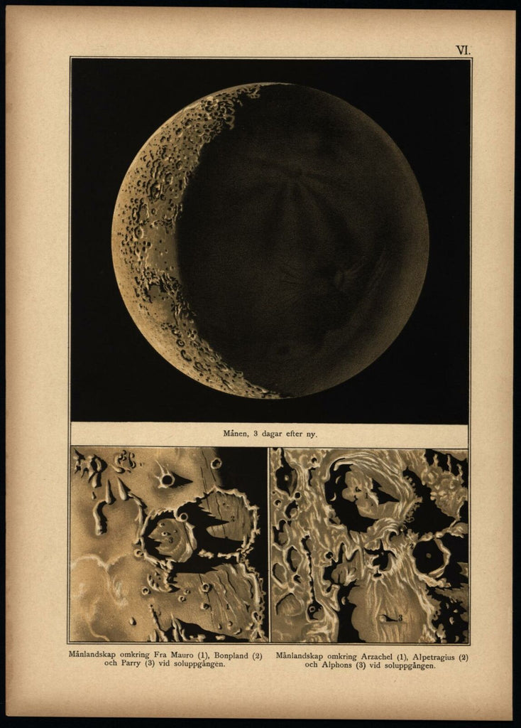 Moon surface 3 days partial w/ craters 1888 Celestial print beautiful scarce