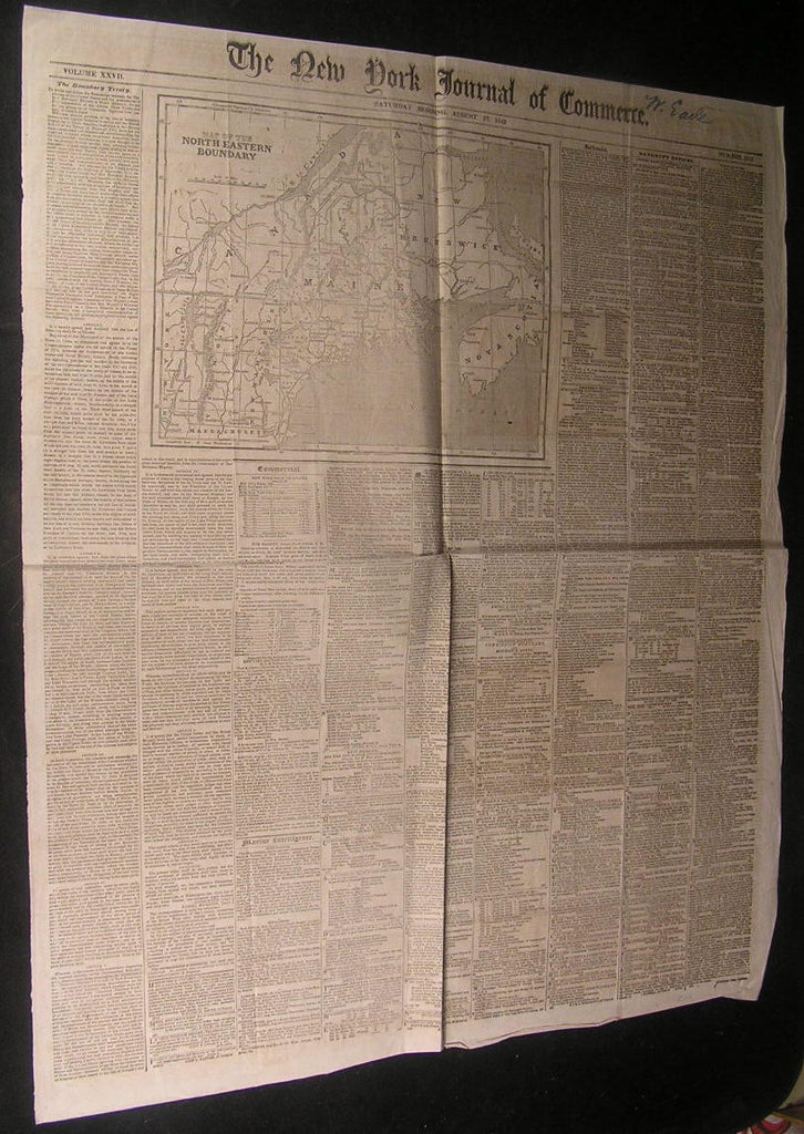 Northeastern Boundary New England 1842 antique wood engraved newspaper map