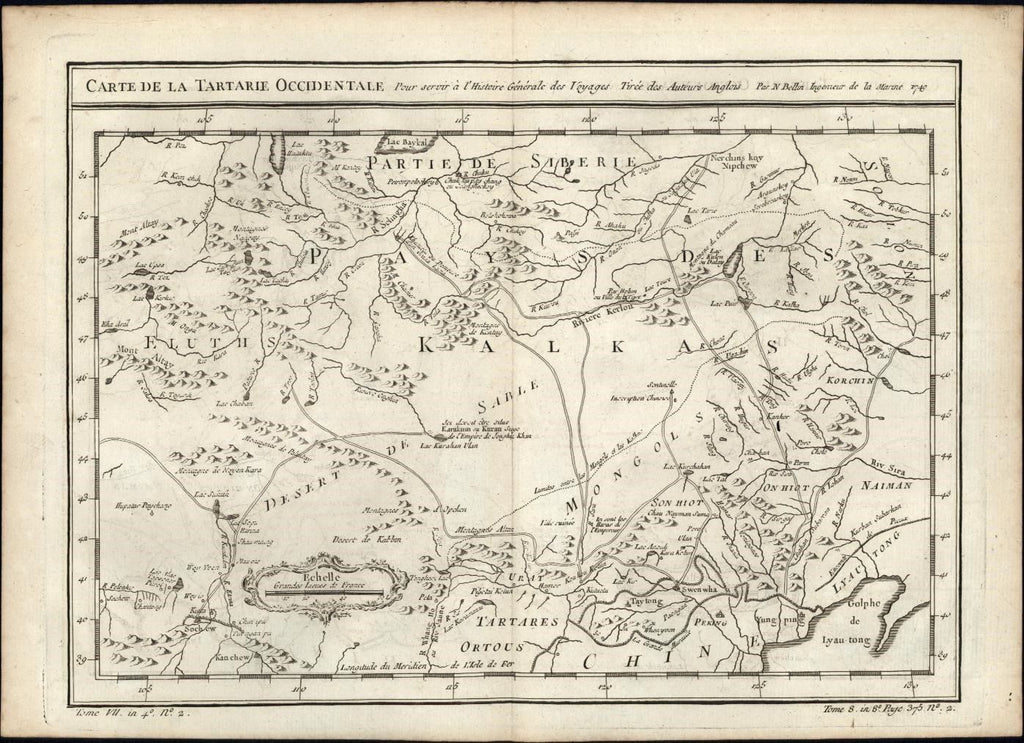 Western Tartary Kalkas China coast 1749 J.N Bellin antique map detailed engraved