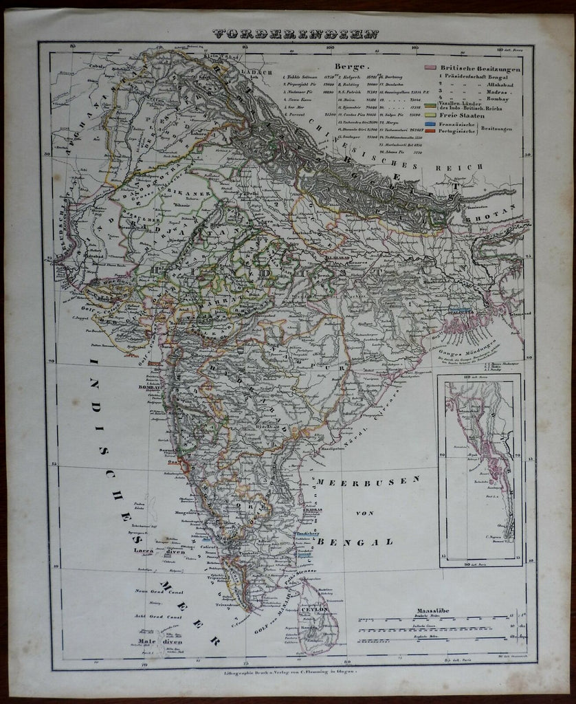 India European Colonies British Raj Mysore Calcutta Bombay Dehli 1850 nice map