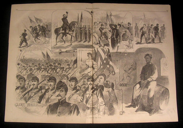 Songs of War Drunk Union Soldiers Fist Fight 1861 Homer wood engraved print