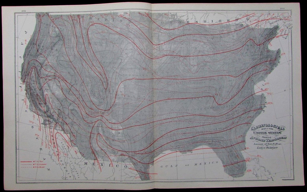 antique Climatological map of United States 1886 Temperature Rain Fall Blodget