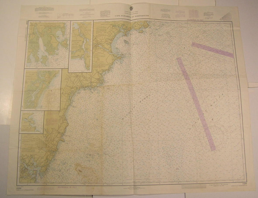 Cape Elizabeth Portsmouth New Hampshire Maine York 1980 vintage nautical map