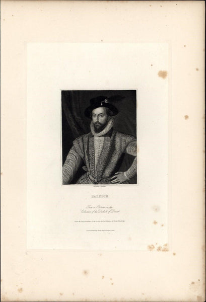 Sir Walter Raleigh English explorer 1834 engraved portrait print India proof