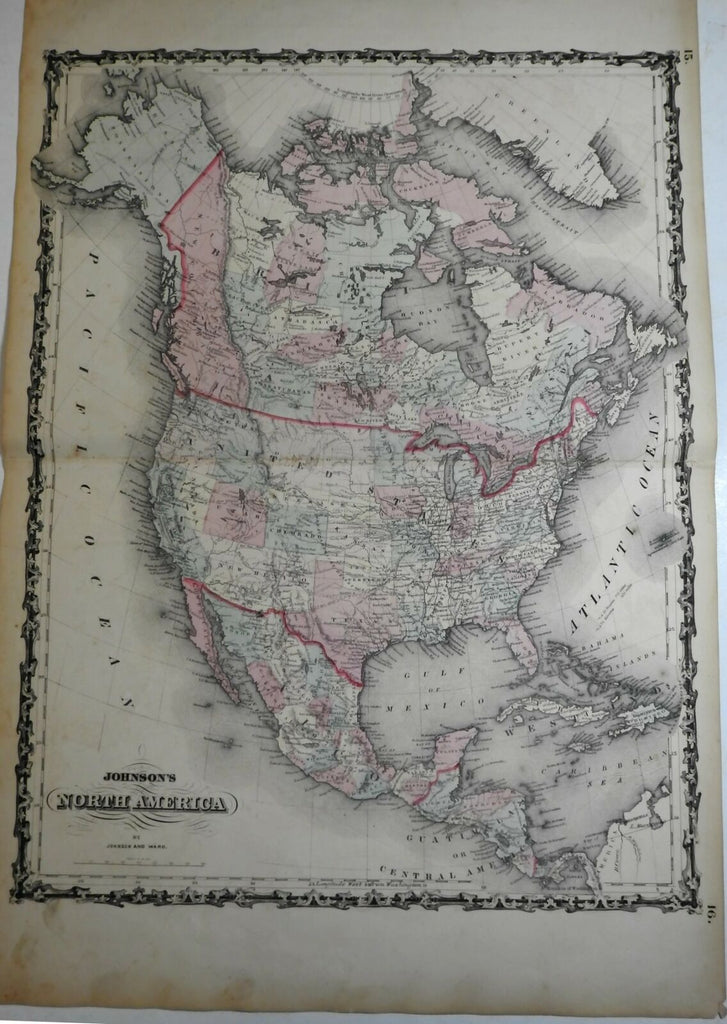 North American Continent Mormon settlement named in Utah 1862 Johnson & Ward map