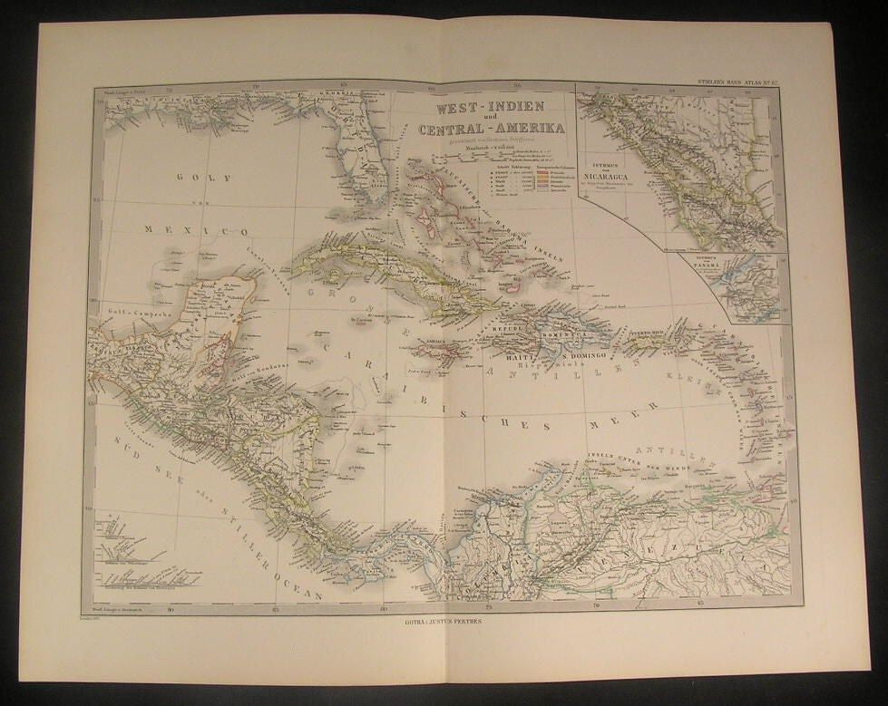 West Indies & Central America 1880 antique German Berghaus engraved color map
