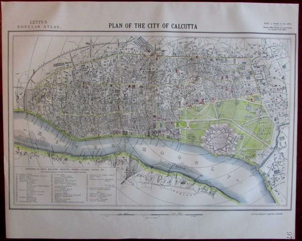 Calcutta Kolkata India 1883 Lett's detailed SDUK style city plan