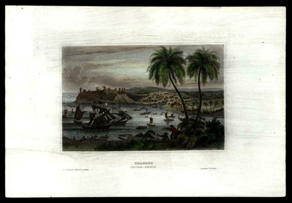 Chagres River Panama Central America c.1850 prospect view hand colored print