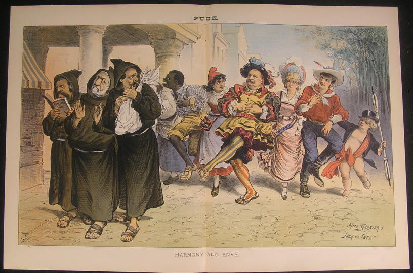 Harmony & Envy Dancing Cleveland Supporters 1885 antique color lithograph print