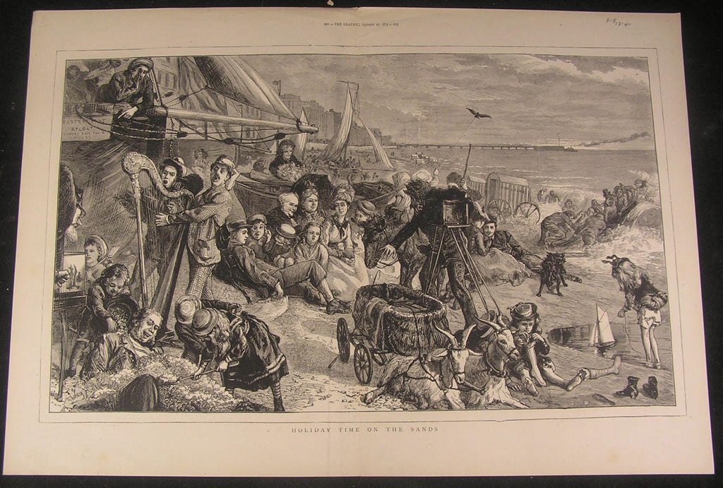 Beach photographer Summer Harp playing sand 1873 antique wood engraved print