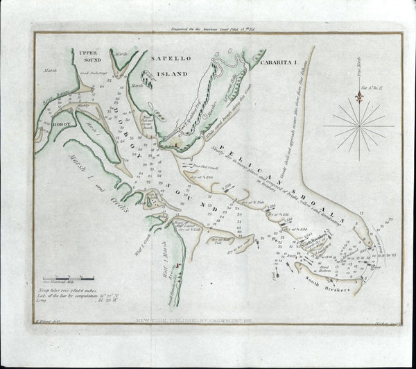 Sapello Doboy Island Pelican Shoals Upper Sound Georgia 1837 Blunt nautical map