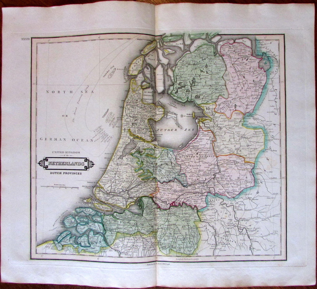 Netherlands Dutch Provinces c.1840 engraved hand color old map