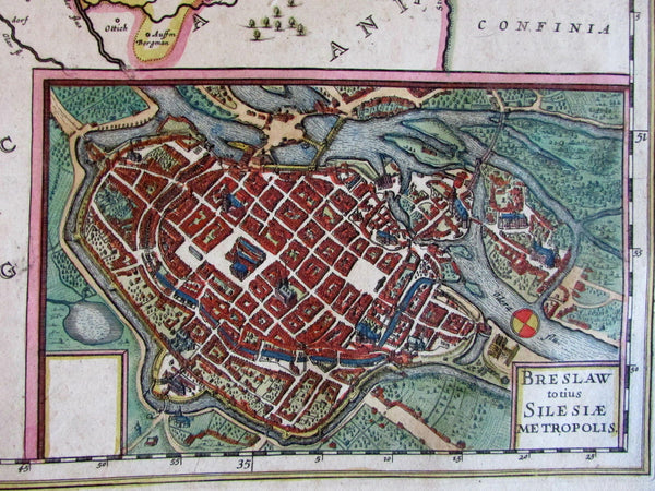Poland Wroclaw Breslaw city plan 1644 Hondius Jansson folio map old hand color